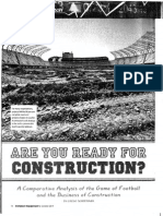 Are You Ready for Construction - A Comparative Analysis the Game of Football & the Business of Construction
