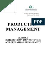 Production Management. Lesson 1