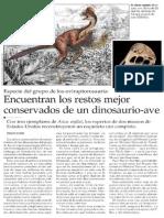 Encuentran Los Restos Mejor Conservados de Un Dinosaurio-Ave - El Mercurio 20-03-2014