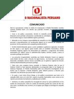 Comunicado Del Partido Nacionalista Peruano