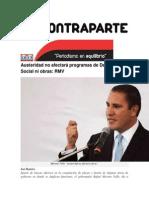 09-11-2014 Contraparte - Austeridad No Afectará Programas de Desarrollo Social Ni Obras, RMV