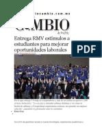 06-11-2014 Diario Matutino Cambio de Puebla - Entrega RMV Estímulos a Estudiantes Para Mejorar Oportunidades Laborales