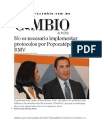 05-11-2014 Diario Matutino Cambio de Puebla - No Es Necesario Implementar Protocolos Por Popocatépetl, RMV