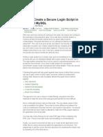 How to Create a Secure Login Script in PHP and MySQL