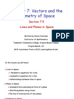 7.5Lines and Planes in Space