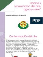 Contaminacion de AGUA AIRE Y SUELO