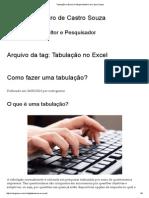 Tabulação No Excel _ Rodrigo Monteiro de Castro Souza