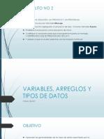 Variables, Arreglos y Tipos de Datos