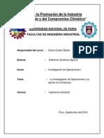 La Investigación de Operaciones y Su Aporte en El Desarrollo de La Empresa Io1