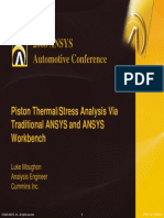 Piston Thermal Stress Analysis via Ansys Traditional and Ansys Workbench