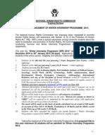 Advertisement of Winter Internship Programme 2014