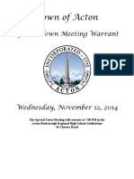 Acton Special Town Meeting Warrant Nov. 12, 2014