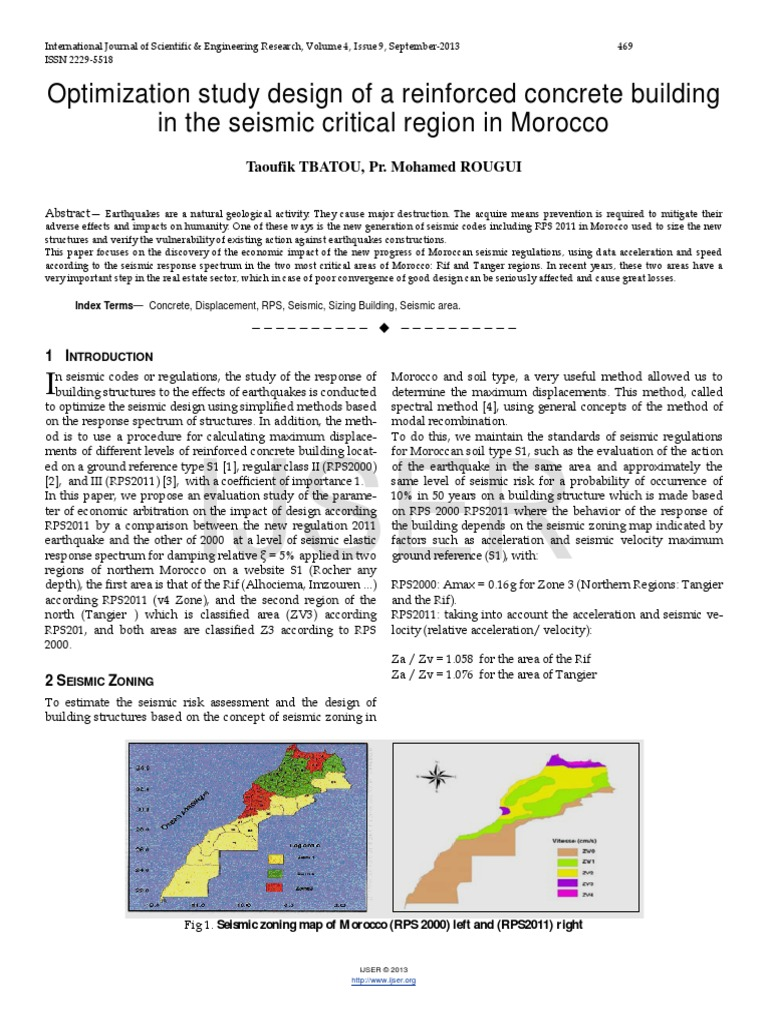 Researchpaper Optimization Study Design of a Reinforced Concrete Building in the Seismic Critical Region in Morocco | Earthquake Engineering | Earthquakes