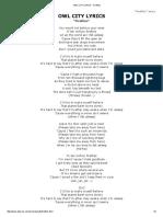 Owl City Lyrics - Fireflies