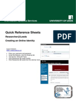 Quick Reference Sheets - Researcher@Leeds v2
