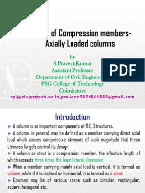 Design of Columns as Per IS 456-2000 | Column | Bending