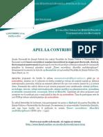 Apel La Contribuții - Univ Fac Stpolitice Bucuresti