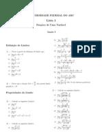 Lista 1 - FUV UFABC - 2014