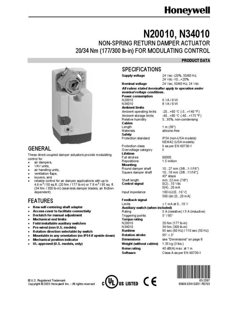 300 lb-in Non-Spring Return Direct Coupled Actuator, 4-20mA 2-10 Vdc,