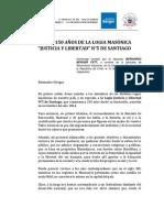 Intervención Diputado Berger Homenaje Logia Masónica N°5 de Santiago