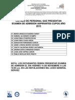 Inscripciones 2015 - 8vo. Listado