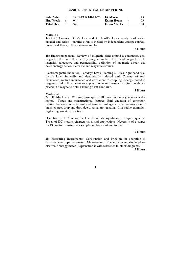 Basic Electrical Engineering(14ele15-14ele25) | Inductance ...