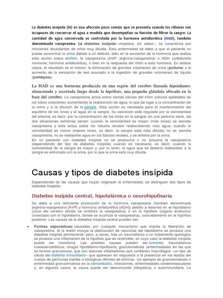 la diabetes insípida es causada por una deficiencia en la cual la hormona