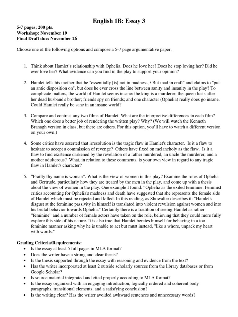 hamlet ophelia love essay