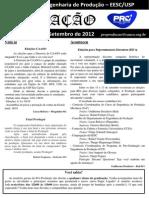 USP São Carlos - Informativo Pro-Produção Edição Especial Formandos Eng. de Produção 2012