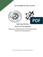 Operación y Mantenimiento de Transformadores Eléctricos de Distribución.