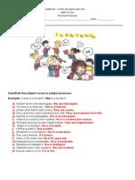 1. Ficha de Trabalho - Personal Pronouns (1) - Soluções