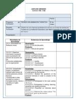Lista de Chequeo Diagnostico 1 ANIMACIÒN TURISTICA -10- 2014