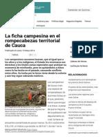 La Ficha Campesina en El Rompecabezas Territorial de Cauca
