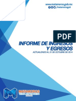 Informe de Ingresos y Egresos del R. Ayuntamiento de Matamoros. Octubre 2014