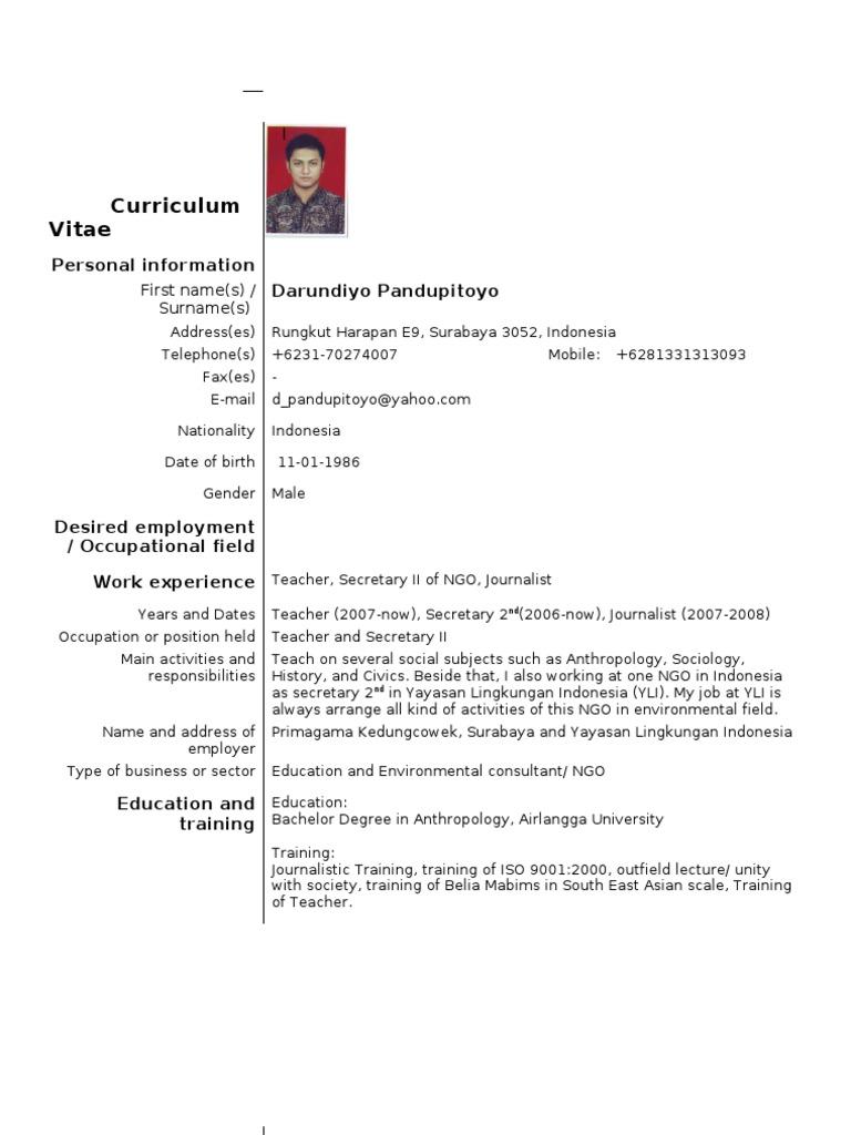 example of european standard cv  contoh dari cv standard
