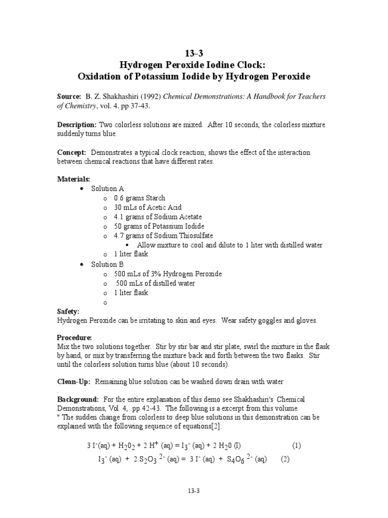 iodine clock reaction coursework