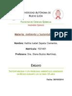 Sustentabilidad y Los Problemas Ambientales Generados en México Durante Los Últimos 20 Años