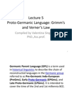 Lecture 5 Proto Germanic Language Grimm Verner Law
