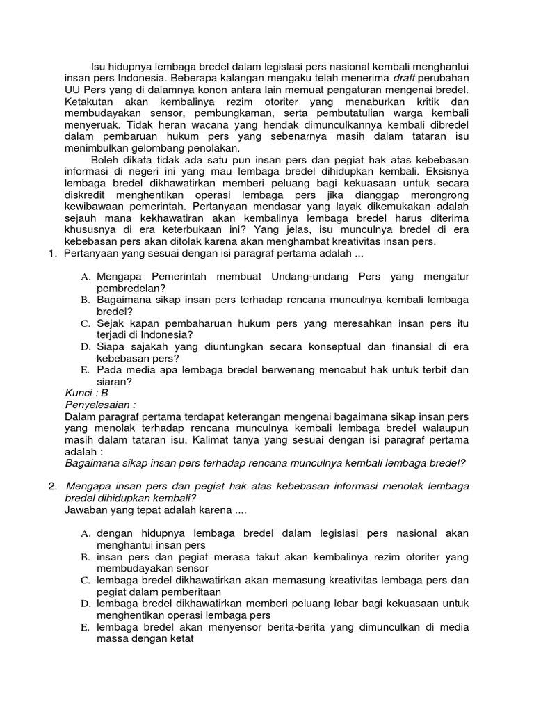 50 Soal Bahasa Indonesia Dan Jawaban
