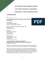 Sample Dispute Letter to Credit Bureau
