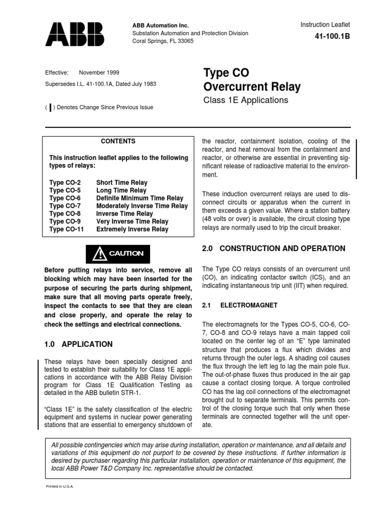 Il 41 100 1b Relay Switch Electrical Maintenance