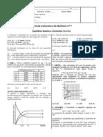 Lista de Exercicios 7 - Equilibrio Quimico I - 2 Bimestre 2013 - 3 Series