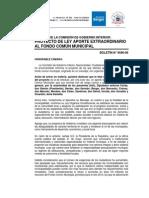 Informe Aporte Extraordinario Al Fondo Comun MUNICIPAL