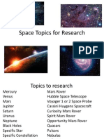 space topics for research