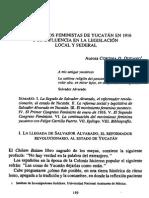 Los Congresos Feministas de Yucatan en 1916 y Su Influencia en La Legislacion Local y Federal