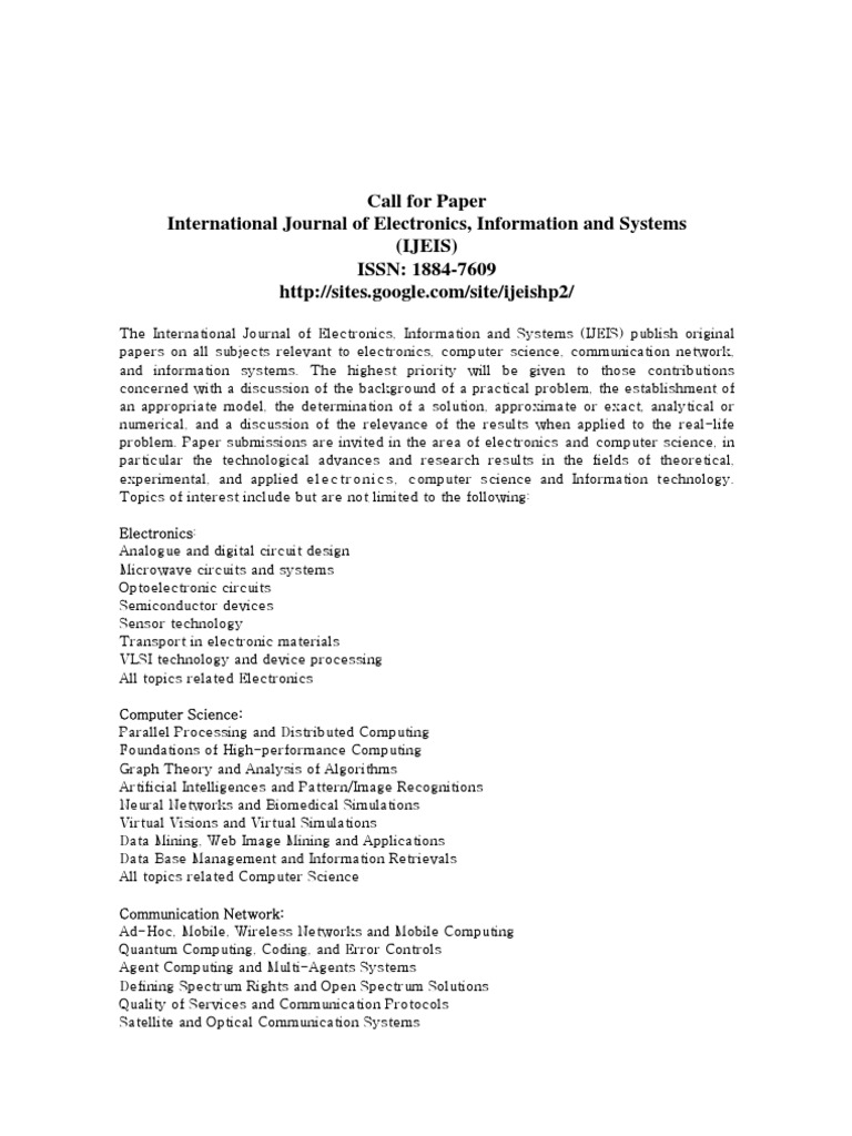 International Journal Of Electronics Information And Systems Ijeis Electronic Circuit Call For Paper Computer Network Computing