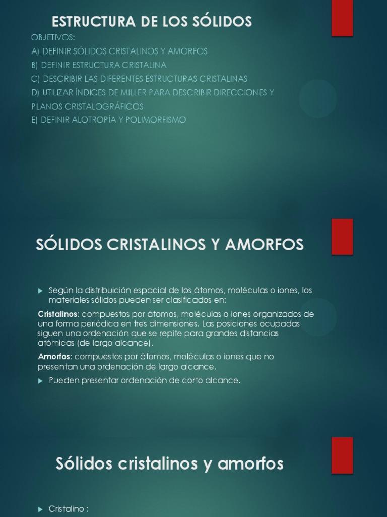 Estructura De Los Sólidos Cristalinos Y Amorfo Estructura
