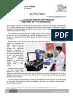 10 DE NOVIEMBRE DE 2014.- TECNOLOGÍA DE PUNTA PARA PROCESAR MUESTRAS DE VPH EN CERCACU.docx
