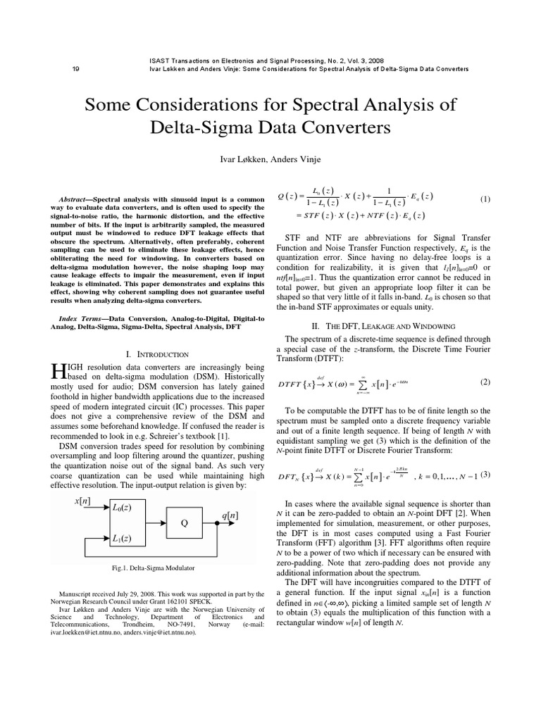 Some considerations for spectral analysis of delta sigma data some considerations for spectral analysis of delta sigma data converters analog to digital converter discrete fourier transform baditri Image collections