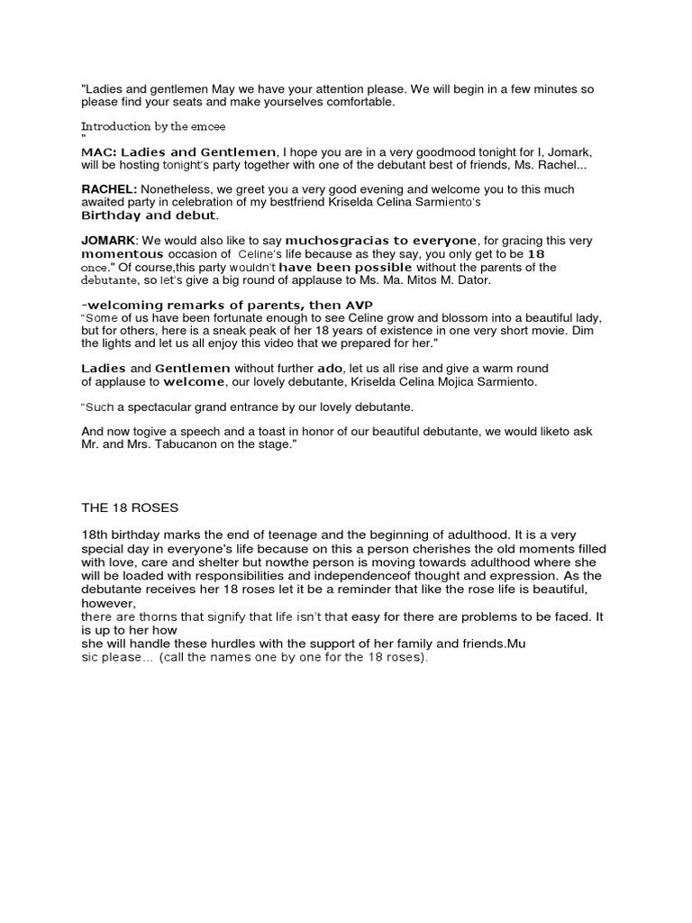Debut Emcee Script Introduction